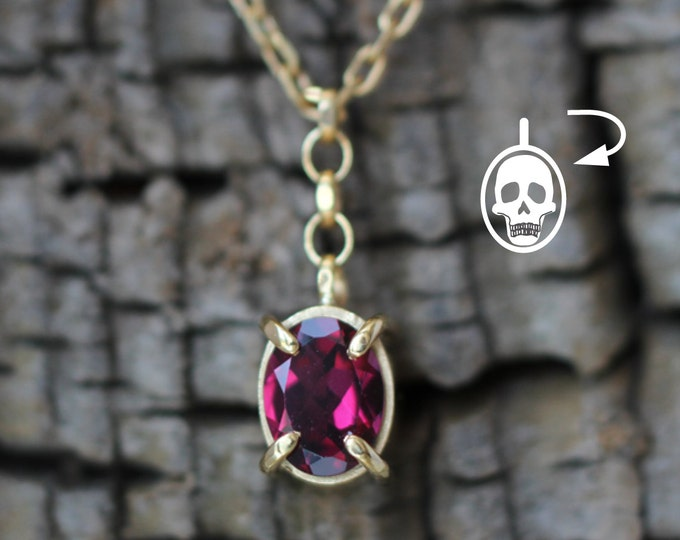 Memento Mori Necklace - lucky charm - rhodolite garnet - ready to ship