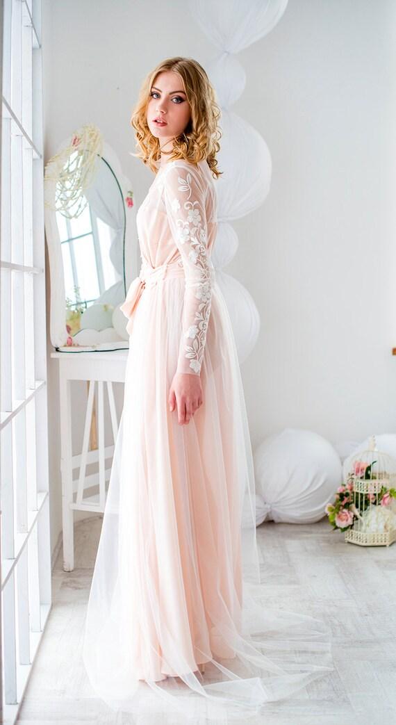 Bridal robe bride robe blush robe lace brial robewedding
