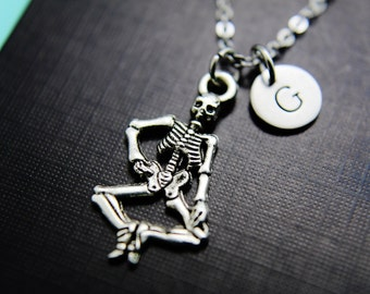 Halloween Decoration Skeleton Necklace Silver Skeleton Charm Necklace Personalized Necklace Monogram Custom