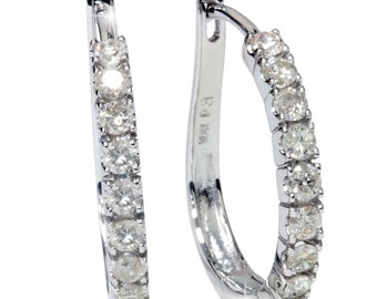 1.00CT Diamond Hoops 10K White Gold 34""