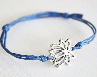 Lotus Flower Bracelet or Anklet In Silver, Lotus Bracelet, Flower Bracelet, Floral Jewelry, Meditation, Yoga Gift, BFF Gift, Friendship Gift