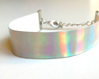 Holographic iridescent bracelet rainbow mirror PU leather