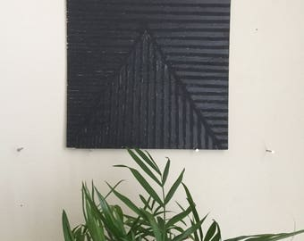 "Black Triangle 016, 8""x8"" painting on oak plywood"