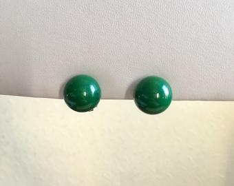 Clip on Earrings: Forest Green Clip on Earrings
