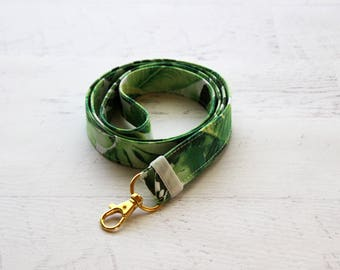 Badge lanyard - cute lanyard - badge holder - leaf lanyard - monstera leaf - teachers lanyard - ID lanyard - key lanyard