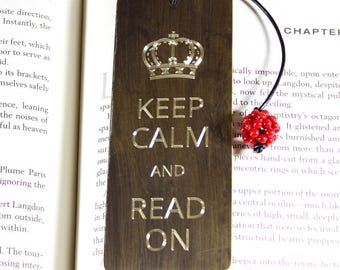 Keep Calm and Read On, antiqued copper bookmark, antiqued brass bookmark