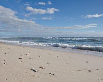 Ocean Waves Print Coastal Wall Art, Deserted Beach Photograph, Coastal Decor Color Palette, Nautical Art for Home or Office, Blue and Beige