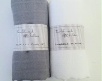 Grey and White 2 Pack Swaddle Blanket /Newborn Muslin Blanket