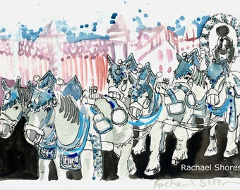 HofBrau Horse Team Plein Air watercolor 11x14 giclee print,Europe,horse team,impressionist,expressive,colorful,octoberfest,sketch,travel,art