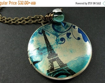 SUMMER SALE Locket Necklace. Eiffel Tower Locket with Fresh Water Pearl and Aqua Teal Teardrop. Eiffel Tower Necklace. Handmade Jewelry.