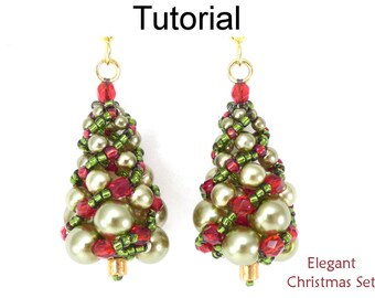Russian Spiral Beading Tutorial - Christmas Tree Pattern - Holiday Earrings Necklace - Simple Bead Patterns - Elegant Christmas Set #17158