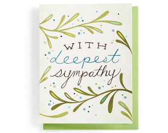 Sympathy Card: Vines and leaves with deepest sympathy, illustrated and hand-lettered in greens, brown and blue