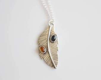 Silver Feather Necklace / Tourmaline Gemstone Necklace / Blue and Yellow Tourmaline / Sterling Silver Feather