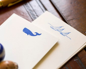 Flat Card Set with Letterpress Whale (vertical)