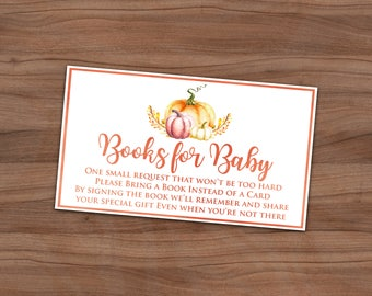 Fall Baby Shower Book Request Card - Autumn Baby Sprinkle Book Instead Of Card Invitation Insert - A Little Pumpkin - Instant - 3.5 x 2 inch