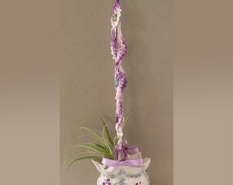 Antique Bone China Bridal Basket Air Fern Planter with Crochet and Beaded Hanger