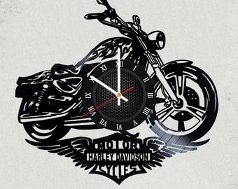 HARLEY DAVIDSON 12 inch / 30 cm ViNYL WAll ClOCK wall clock gifts for men SP0RT gift for kids Sport for boys gifts harley davdison gift
