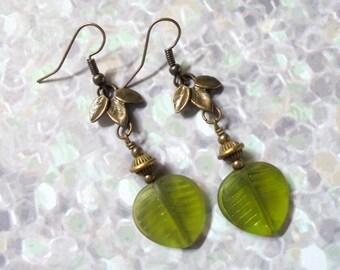 Green and Brass Leaf Earrings (3114)