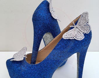 Dark Blue And Silver Butterfly Heels - Platform Heels - Bridal - Wedding - Bridesmaid - Prom - Party - Customised Shoes - UK Size 3-8