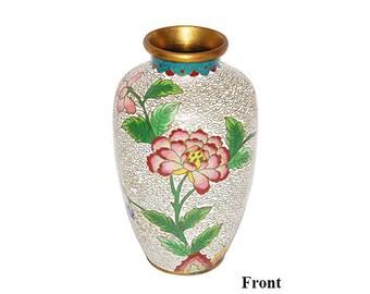 Vintage White Cloisonne' Vase with Floral Design