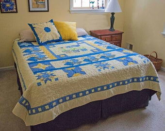 Yellow and Blue Queen Bed Quilt
