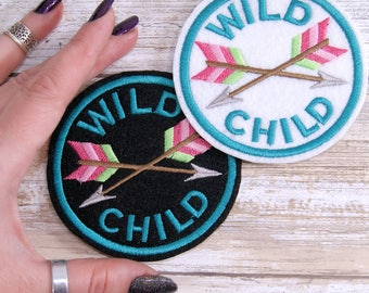 Wild Child -  Round Merit Badge Iron On Embroidery Patch MTCoffinz - Choose Size/ Color