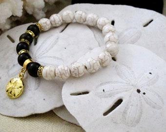 Beach Bracelet Beach Jewelry White Beaded Bracelet Wood Bead Bracelet Sand Dollar Bracelet  Gift for her Gift for Beach Lover