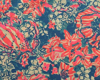 """bay blue pop pop poplin cotton fabric square 17""""x17"""" ~ lilly summer 2016 ~ lilly pulitzer"""