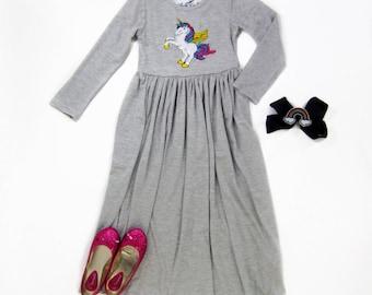 Girl Gray Unicorn Maxi Dress, Girl Unicorn Dress, Girl Long Sleeve Dresses, Girls Long Dress - Sizes 4/5, 6/6X, 7/8, 10/12 Ready to Ship