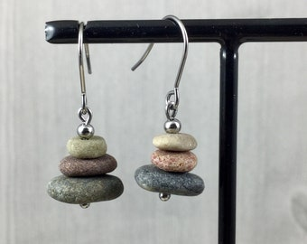 Cairn Earrings - Beach Stone Earrings - Silver Pebble Earrings - Stainless Steel Zen Stone  Earrings - Beach Pebble Earrings - Stacked Stone