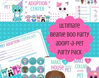 8 Adopt-A-Pet Beanie Boo Party Printables for Download - Complete Beanie Boo Party Pack