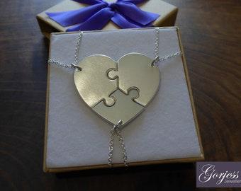 Best Friend Heart Pendants - Handmade Silver Three Piece Heart - Silver Puzzle Pendants - Satin Puzzle Necklaces