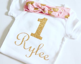 Gold Birthday body suit, First Birthday Bodysuit, Girls 1st Birthday outfit, Pink and Gold Girst Birthday Outfit
