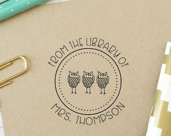 Library Book Stamp, Teacher Stamp, From the Library of, Classroom Library Stamp, Owl Stamp, Bookplate Stamp, Book Lover, Teacher Gift, 2B