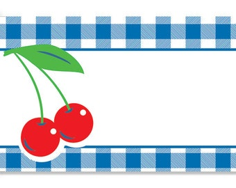 50 Blue & White Gingham Plaid CHERRIES Florist Blank Enclosure Cards Small Tags Crafts (Free Shipping!)
