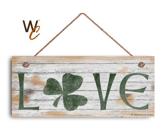 """LOVE Sign, Shamrock Sign, Rustic And Distressed Style, Holiday Door Sign, 6"""" x 14"""" Sign, St. Patrick's Day Sign, Irish Decor,"""