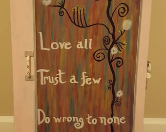 Hand Painted Reclaimed Window