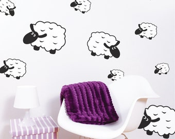 Printed Counting Sheep Wall Decals Vinyls Nursery Stickers