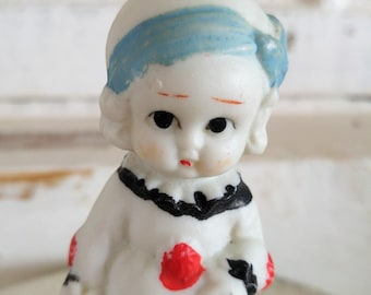 VTG old miniature Bisque baby doll * CLOWN cute girl