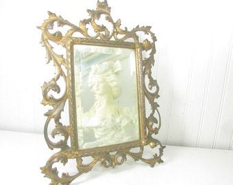 Antique Victorian Vanity Mirror, Ornate Vanity Mirror, Bedroom Decor, Dressing Room, Gilted Gold Mirror, Metal Mirror, Easel Mirror