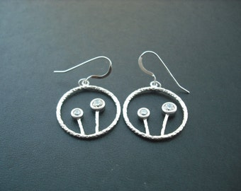 two little tree in a hoop earrings - white gold plated