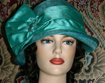 Kentucky Derby Hat Flapper Hat Edwardian Hat Gatsby Downton Abbey Tea Hat Roaring Twenties Women's Aqua Hat - Josephine