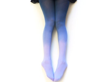 Ombre tights Lavender Field - hand dyed opaque tights.