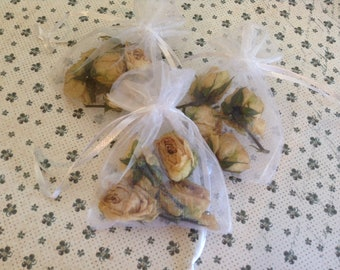 3 Organza Gift Bags Filled with Dried Rose Buds - Natural Latte colour - Perfumed with Rose and Violet Essential Oil