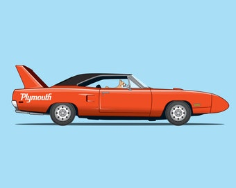 Chihuahua driving his 1970 Plymouth Superbird- Dogs Driving Things Collection