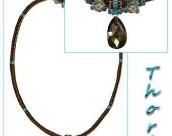 "Necklace ""Thori"" turquoise/copper weaving needle"