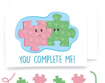 You Complete Me Jigsaw Illustration Card (Love/Marriage/Anniversary/Girlfriend/Boyfriend/Partner/Adore/Engagement/Valentines)