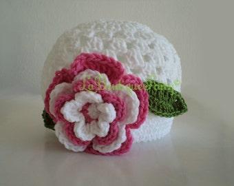 Baby Rose Hat. Cotton Baby Hat. White Baby Hat. Newborn Hat. Baby Shower Gift. Baby Photoshooting, Baby Photo Design, Newborn Photo Props.
