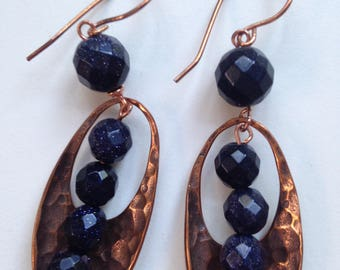 Blue Goldstone with Hammered Copper findings