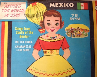 Vintage Children's Record from 1959 78 rpm Peter Pan Records Songs from Mexico